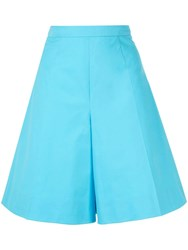 Delpozo Flared High Rise Shorts Blue