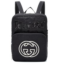 Gucci Embroidered Medium Backpack Black
