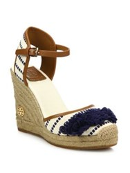 Tory Burch Shaw Espadrille Wedge Sandals Navy Sea