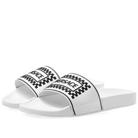 Versace Logo Pool Slide White