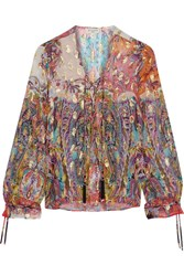 Etro Metallic Printed Fil Coupe Silk Blend Georgette Top Pink