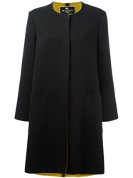 Etro Collarless Midi Coat Black