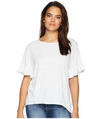 Mod O Doc Mini Pointelle Knit Ruffle Sleeve Boxy Tee White T Shirt