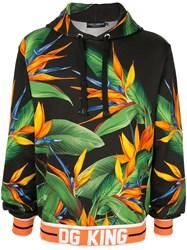 Dolce And Gabbana Dg King Bird Of Paradise Print Hoodie Black