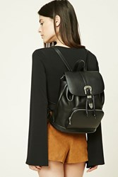 Forever 21 Faux Leather Buckle Backpack Black