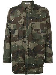 Faith Connexion Jewel Studded Camouflage Shirt Green