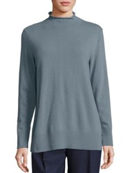 Lafayette 148 New York Merino Wool And Cashmere Rolled Mockneck Sweater Balsam