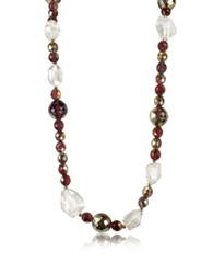A Z Collection Beaded Chain Necklace Brown