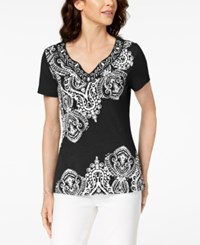 Karen Scott Paisley Print Top Created For Macy's Deep Black
