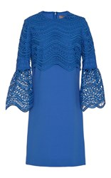 Lela Rose Full Sleeve Tunic Dress Blue