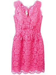 Valentino Lace Peplum Dress Pink And Purple