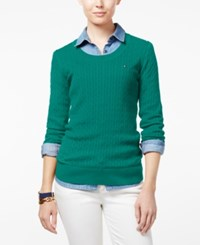 Tommy Hilfiger Jenny Cable Knit Sweater Peacock Blue