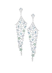 Adriana Orsini Azure Colored Crystal Long Chandelier Earrings Silver