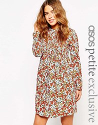Asos Petite Babydoll Dress With Shirring In Ditsy Print Multi