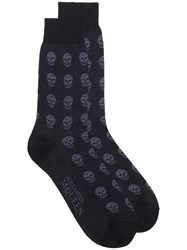 Alexander Mcqueen Blue Skull Cotton Short Socks