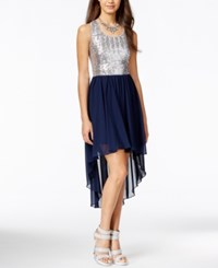 B Darlin Juniors' Sequin Chiffon High Low Dress With Back Bow