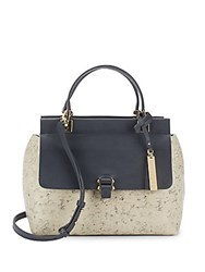 Vince Camuto Embossed Leather Satchel Natural