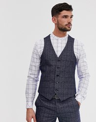 Penguin Orginal Slim Fit Dark Navy Check Suit Waistcoat