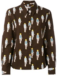 Dondup Swimsuit Print Shirt Women Cotton 44 Brown