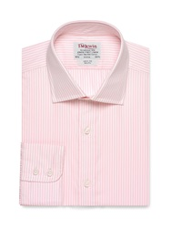 T.M.Lewin Stripe Slim Fit Long Sleeve Classic Collar Formal Light Pink