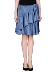 Fendi Knee Length Skirts Slate Blue