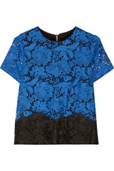 Badgley Mischka Two Tone Lace Top Blue