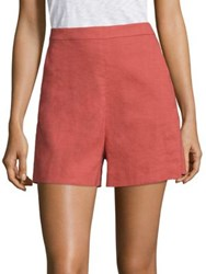 Theory Tarrytown High Waist Shorts Shell White Pollen Carmine Red