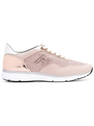 Hogan Panel Lace Up Sneakers Nude Neutrals
