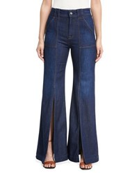 7 For All Mankind Palazzo Slit Front High Waist Denim Pants Blue