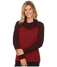 Calvin Klein Grid Striped Cowl Neck Sweater Rouge Black Women's Sweater Pink