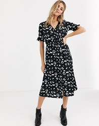 Influence Shirred Sleeve Midi Dress With Button Front In Abstract Print Black