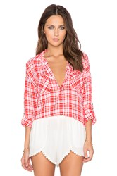 Candc California Two Pocket Plaid Top Red