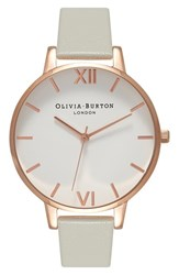 Olivia Burton Women's 'Big Dial' Leather Strap Watch 38Mm Grey White