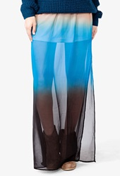 Forever 21 Ombre Chiffon Maxi Skirt Pink Blue