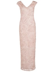 Gina Bacconi Long V Neck Braid Embroidered Dress Blush