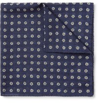 Anderson And Sheppard Printed Wool Twill Pocket Square Navy
