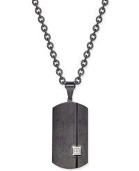 Sutton By Rhona Sutton Men's Black Stainless Steel Pave Dog Tag Pendant Necklace