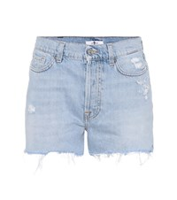 7 For All Mankind High Waisted Denim Shorts Blue