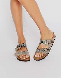 Birkenstock Arizona Shiny Snake Print Narrow Fit Flat Sandals Shiny Snake Sand Multi