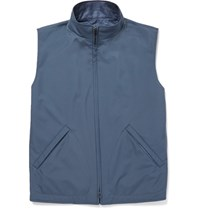 Loro Piana Reversible Shell And Woven Silk And Cashmere Blend Gilet Blue