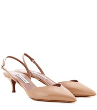 Tabitha Simmons Nev Patent Leather Slingback Pumps Neutrals