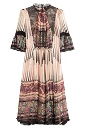Etro Printed Silk Dress With Lace Multicolor