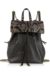 Ja Ra Me Dreyfuss Florent Textured Leather And Leopard Print Calf Hair Backpack