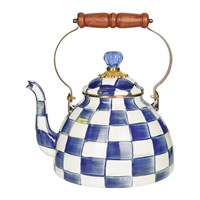 Mackenzie Childs Royal Check Tea Kettle Blue