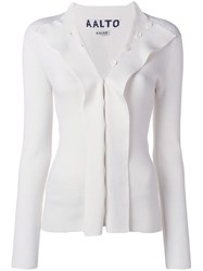 Aalto Flapped Knitted Cardigan White
