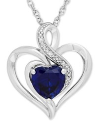 Macy's Sapphire 1 3 4 Ct. T.W. And Diamond Accent Heart Pendant Necklace In Sterling Silver