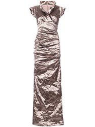 Nicole Miller Ruched Maxi Dress Women Polyamide Polyester Spandex Elastane Metallic Fibre 10 Brown