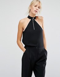 Influence Zip Front Shell Top With Cut In Shoulder Black