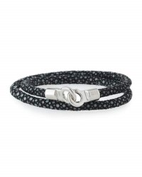 Brace Humanity Men's Stingray Wrap Bracelet Black Silver