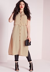 Missguided Plus Size Button Front Side Split Tunic Top Nude Cream